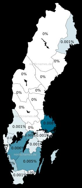 Swedish Regional Distribution for Helfrida (f)