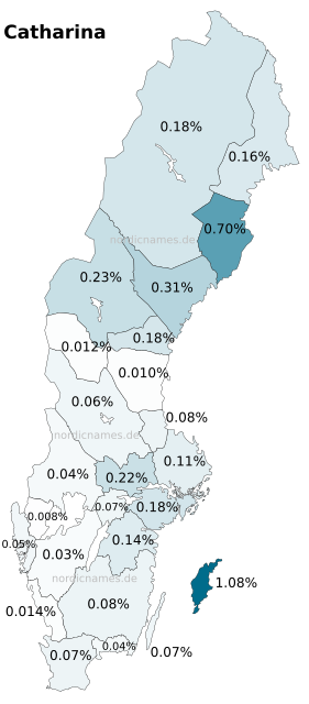 Swedish Regional Distribution for Catharina (f)
