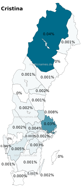 Swedish Regional Distribution for Cristina (f)