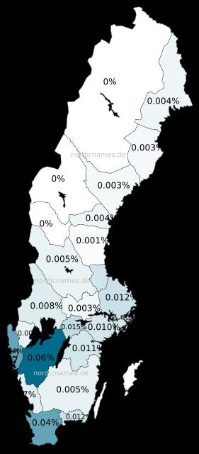 Swedish Regional Distribution for Frits (m)